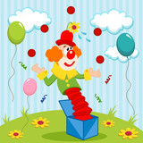 clown juggles balls - vector illustration