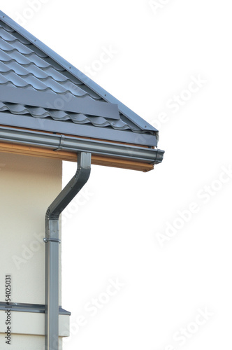 Brand new roofing grey rooftop isolated gray roof tiles detailed