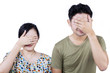 Asian couple cover face - isolated