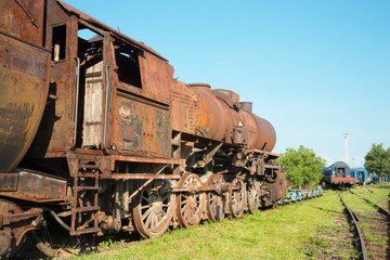 old steam locomotive in the rust