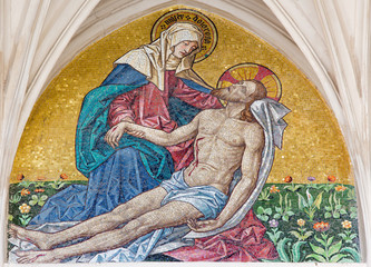Vienna - Mosaic of pieta - church Maria am Gestad