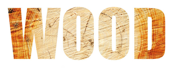 The word 'wood' in wooden letters on white