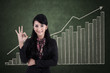 Happy businesswoman with ok sign on profit bar chart