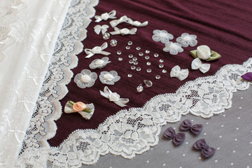 Fabric, lingerie tull and different sewing supplies