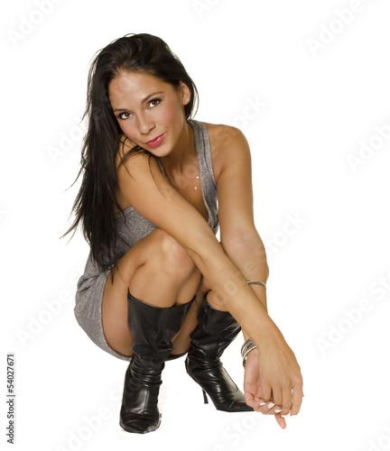 Beautiful sexy brunette woman in lingerie