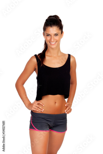Brunette woman with sport clothing