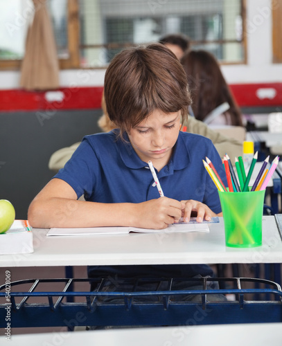 Little Schoolboy Studying At Desk