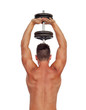 Strong man practicing back exercises with dumbbells