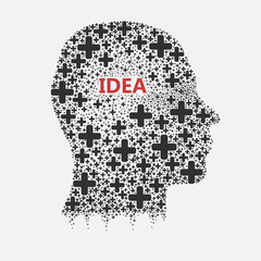 Human head thinking, creating new idea