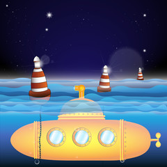 Vector submarine illustration with sea buoy