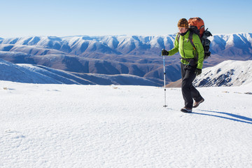 Winter mountain hiking