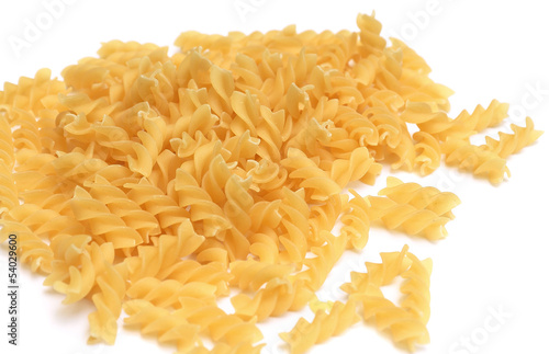 Fusilli pasta isolated on white background