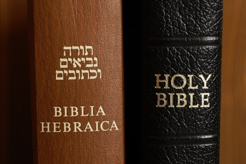 Close up of hebrew and english Bible.