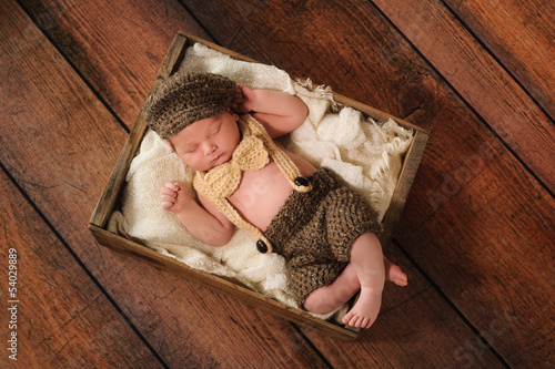 Newborn Baby Boy in Little Man Suit