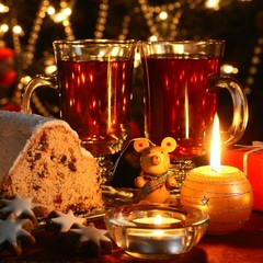 Christmas cake, cookies, candles and christmas decorations