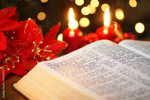 Open Bible and Christmas decorations