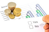 Yes no check box with coins and business graph