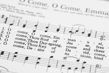 Detail of songbook with Christmas carols.