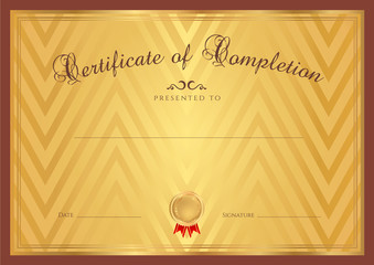 Gold Certificate / Diploma template, background. Pattern