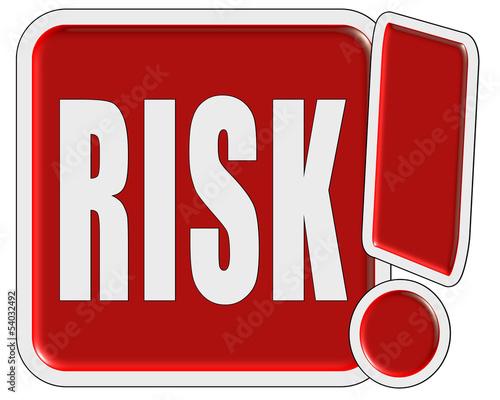 Ausrufezeichen Button rot RISK