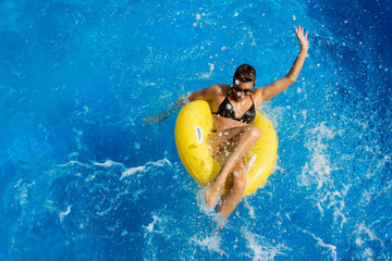 Aquapark. Playing in the pool. Summer Fun