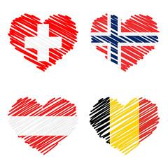 SET Strichzeichnung Herz - Länderflaggen