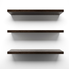 Empty wooden shelves on wall