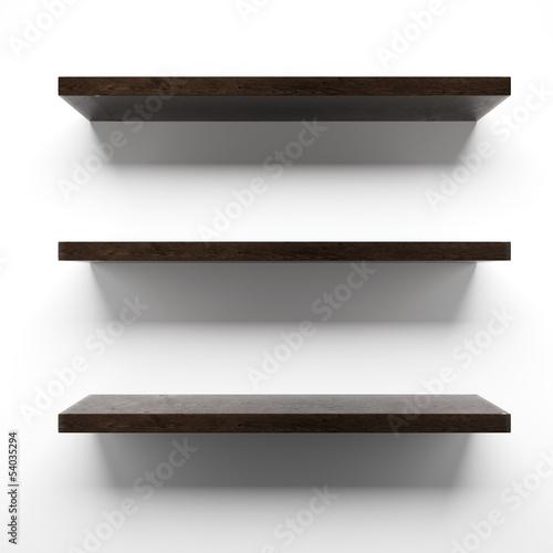 Papiers peints Mur Empty wooden shelves on wall