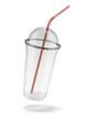 Plastic glass with straw