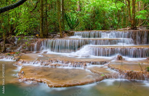Waterfall in deep rain forest jungle (Huay Mae Kamin Waterfall i