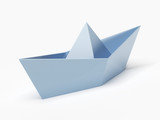 Closeup of a blue paper boat