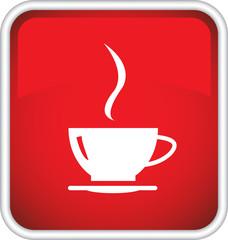 Красный значок с изображением чашки кофе