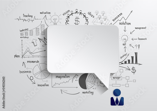 Vector speech bubble with drawing business strategy plan concept