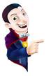 Cartoon Dracula Vampire Pointing