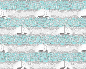 Seamless boat and sea pattern. Cute background for children or t