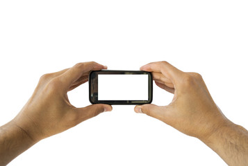 Taking photo on mobile phone concept in horizontal
