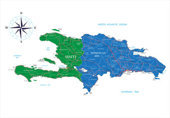 Dominican Republic and Haiti map