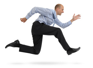 Businessman running isolated on white background