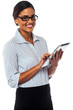 Corporate lady using touch pad device