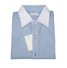 men's shirt with line pattern and blue color