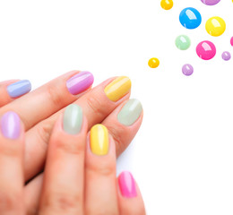 Nail Polish. Trendy Colourful Manicure