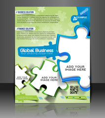 Vector puzzle business brochure, flyer
