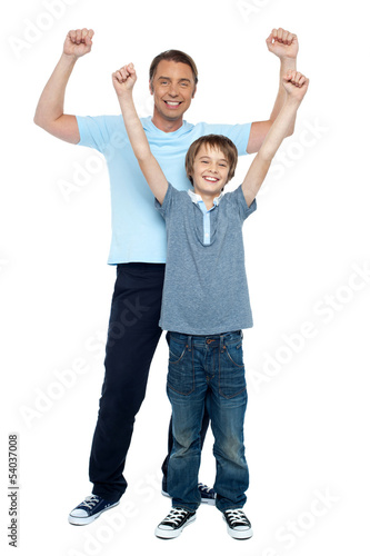 Father and son rejoicing together