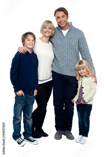 Parents with kids isolated on white