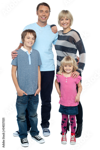 Happy family with cheerful children