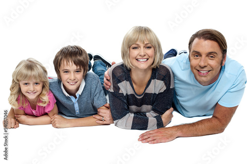 Portrait of happy family with two children