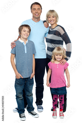 Smiling young couple with their children