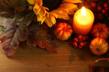 Autumn arrangement on wooden background with copy space.