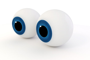 3d eyes on white background