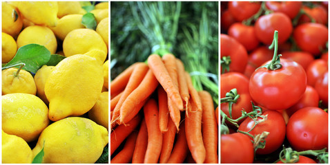 Frutta e verdura estiva, limone, carota, pomodoro.